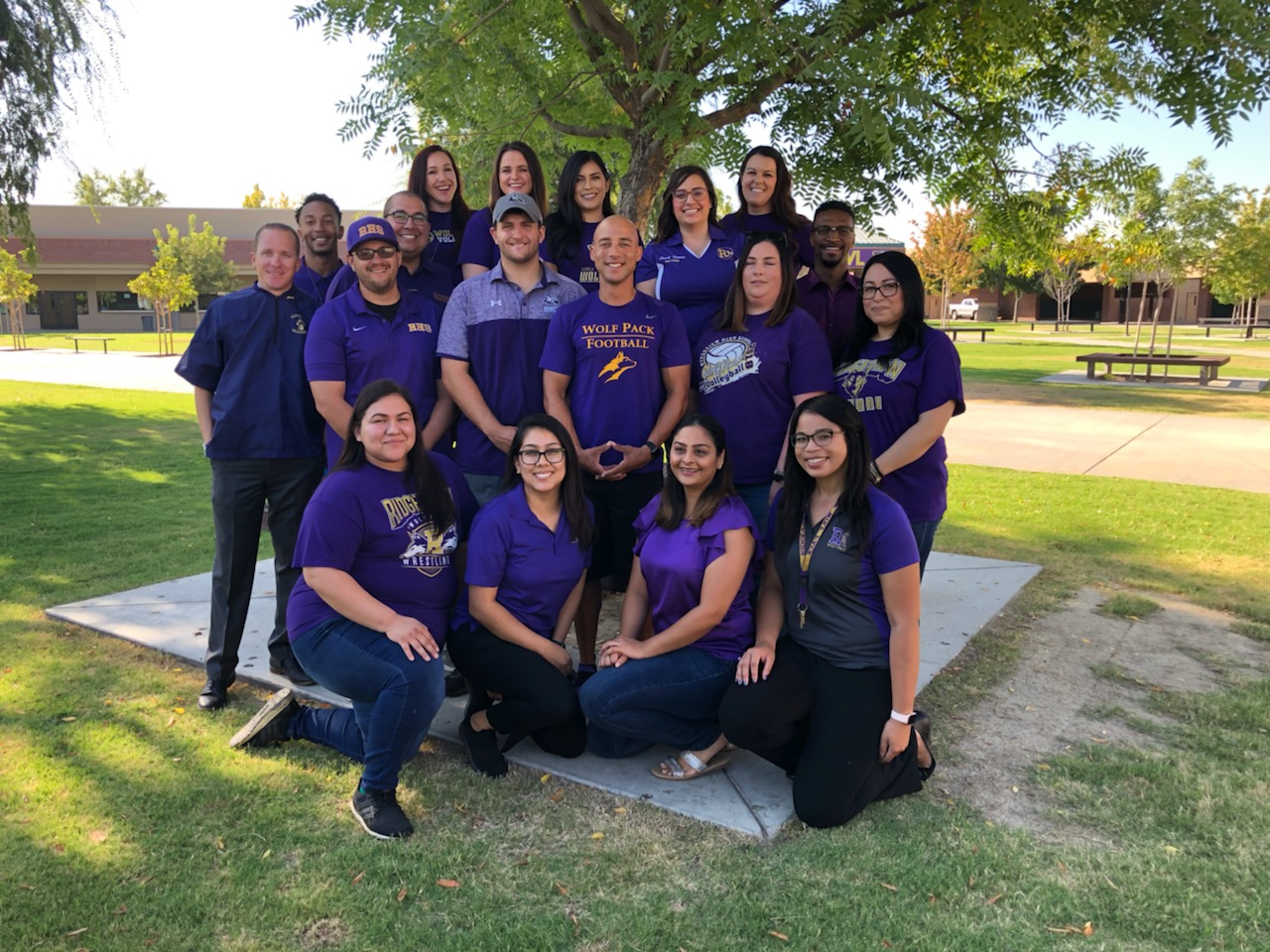Several Alumni are pictured at Ridgeview High before the start of school.