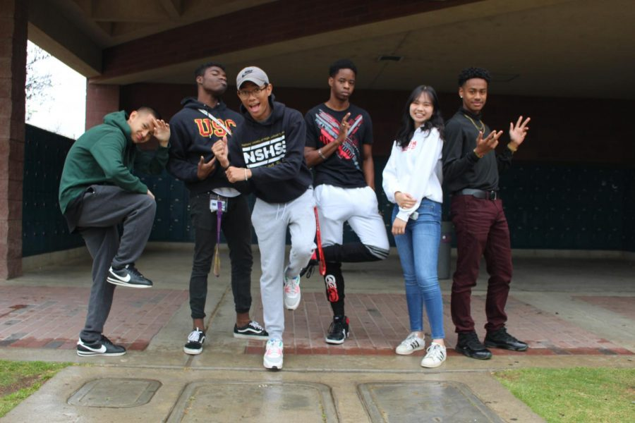 Pack Dance Revue causes videos to go viral on TikTok after a back in time performance (left to right) Blake luangamath, Theodore Walker, Gerald De Jesus, Michael Zachary, Mikayla, and Andre Norman