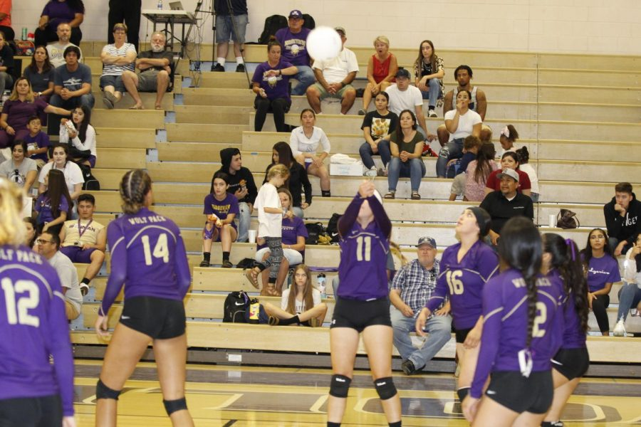 An unidentified Varsity player bumps the ball during a match last year.