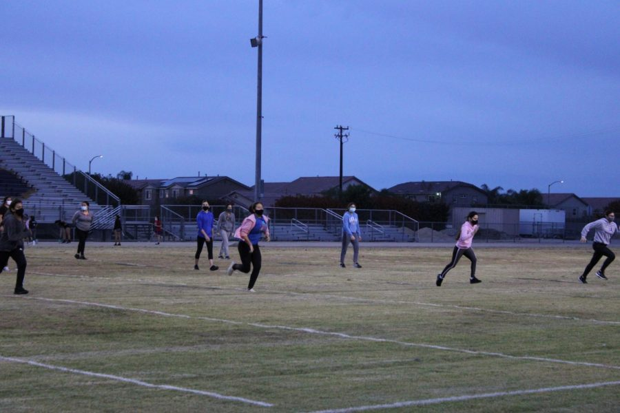 Ridgeview student athletes do running drills during conditioning in Nov.