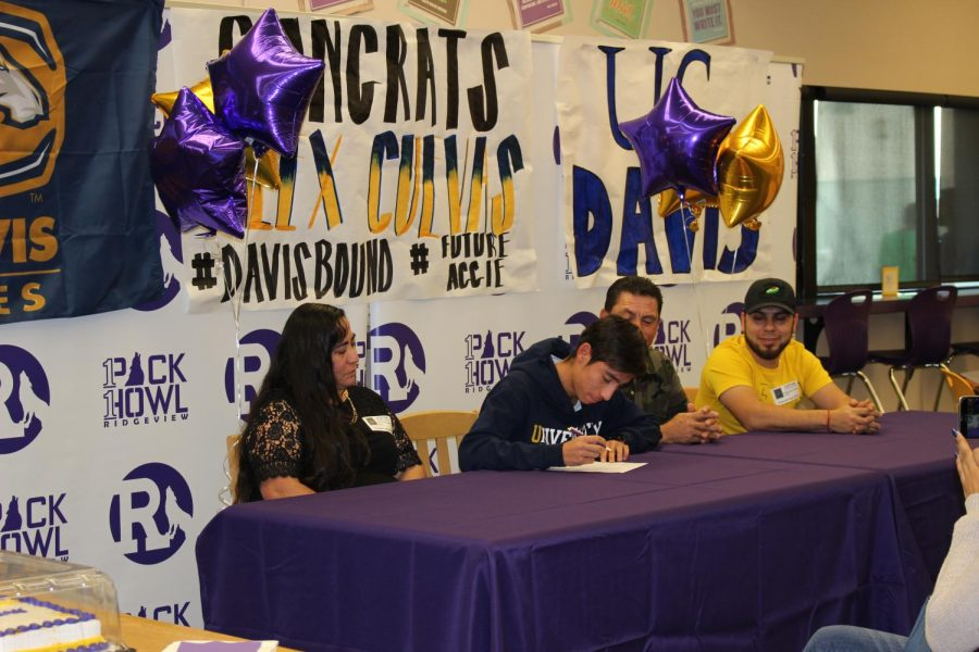Last years Cross Country runner Alex Cuevas signing to UC Davis.