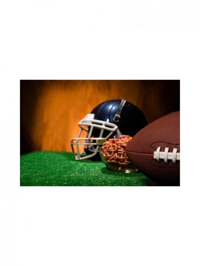 Super Bowl traditions; a football and pretzels.