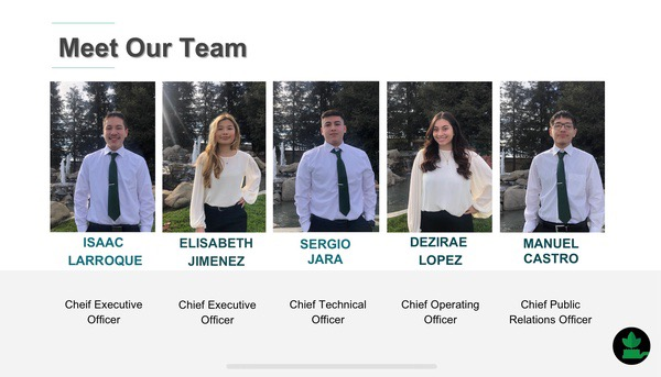This years five member Virtual Enterprise team who made it to State.
