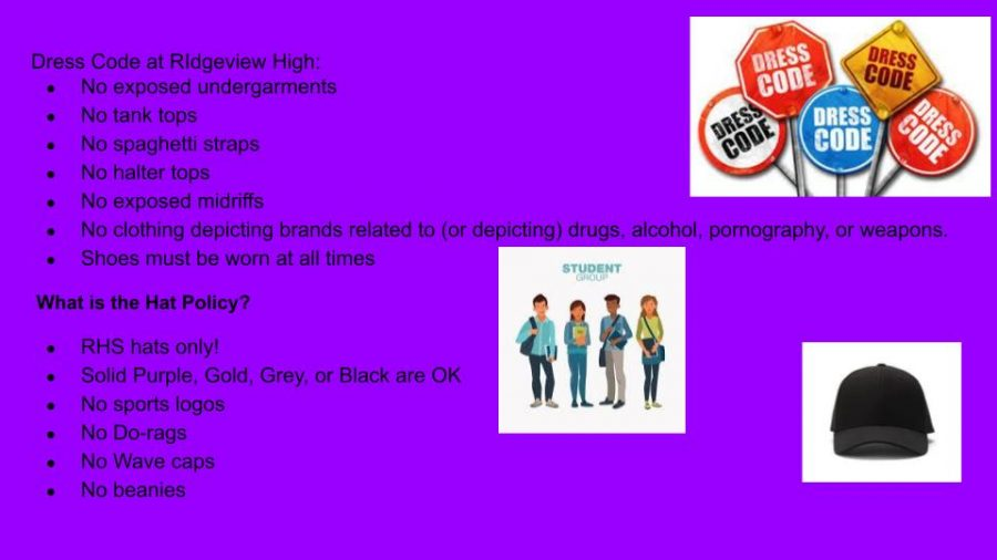 The graphic shows the dress code for  of Ridgeview High  School.