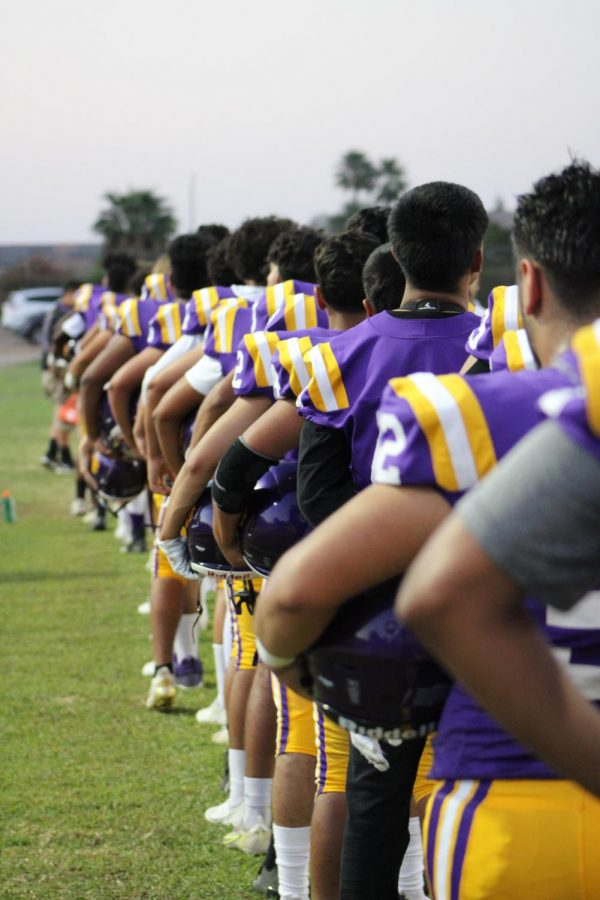 Ridgeview+High+Schools+Football+Team+lined+up+for+Night+Lights+.